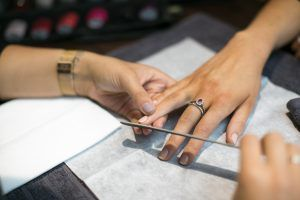 Filing nails manicure