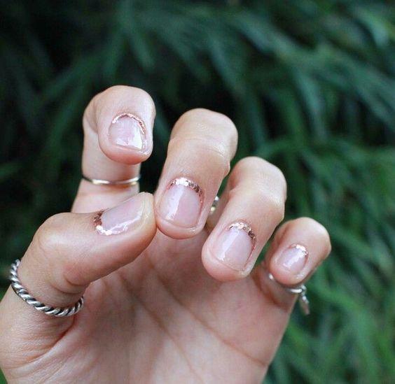 golden cuff cuticle manicure nail art