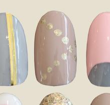 Tan gold dot nail art look