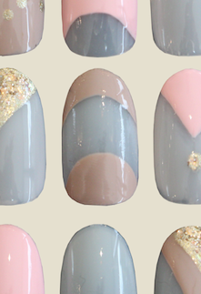 tan half moon french manicure nail art