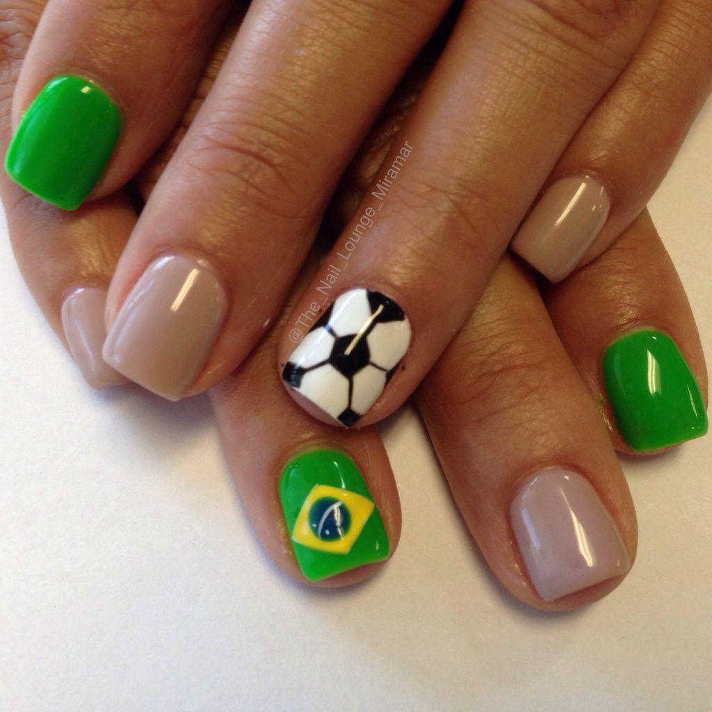 brazilian flag inspired nails