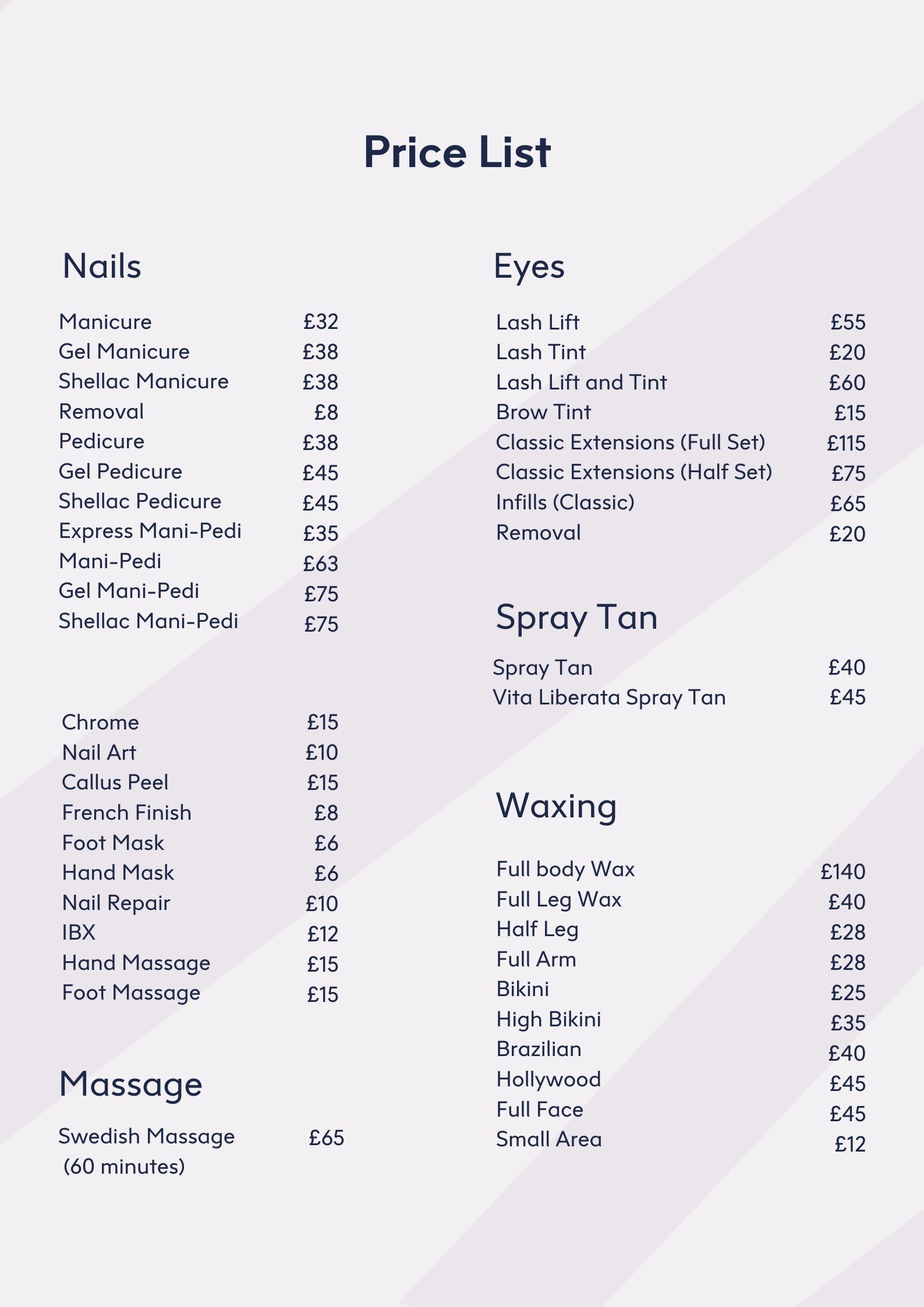 LeSalon Price List